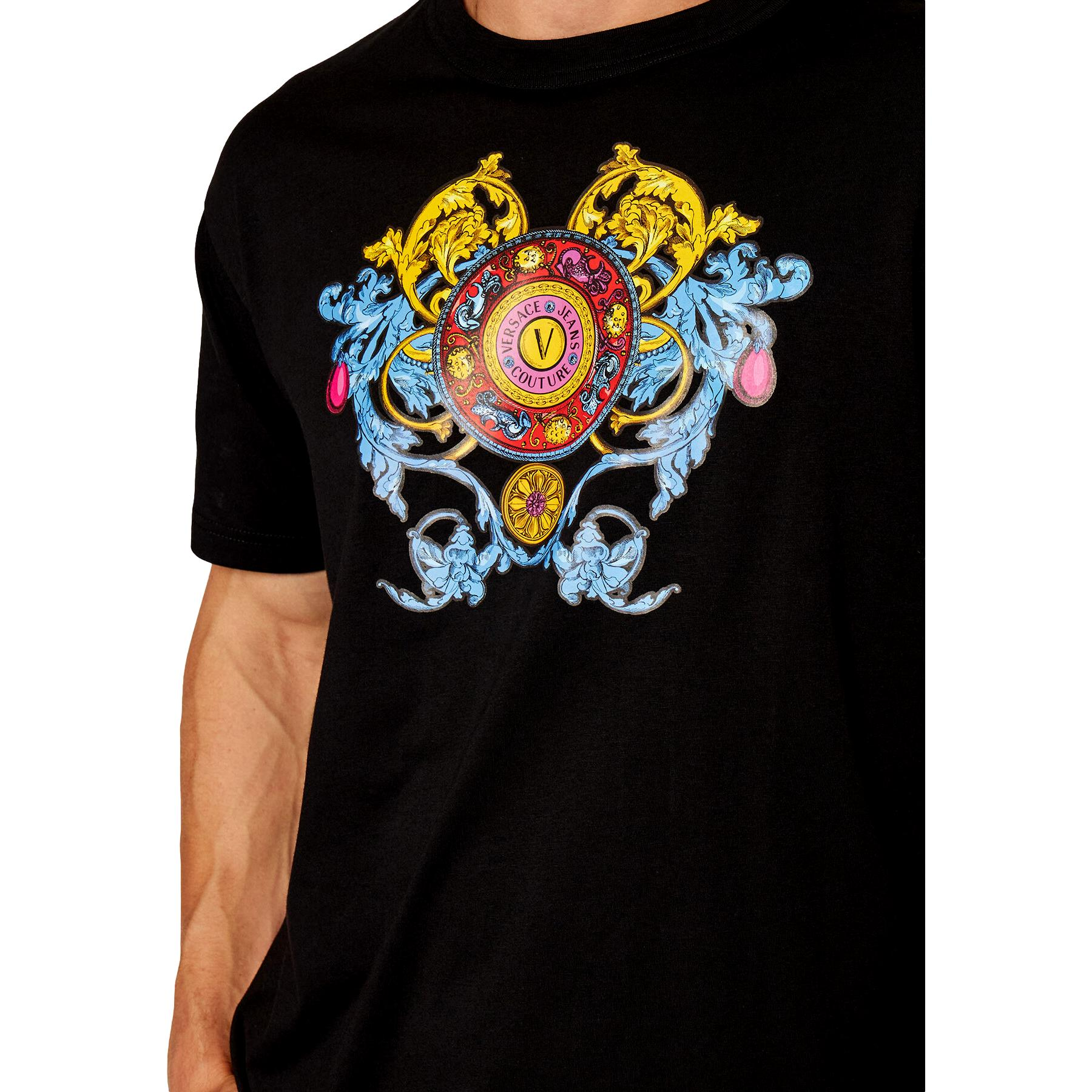 T-shirt with multicolored print VERSACE JEANS COUTURE      71GAHT17 CJ00O899
