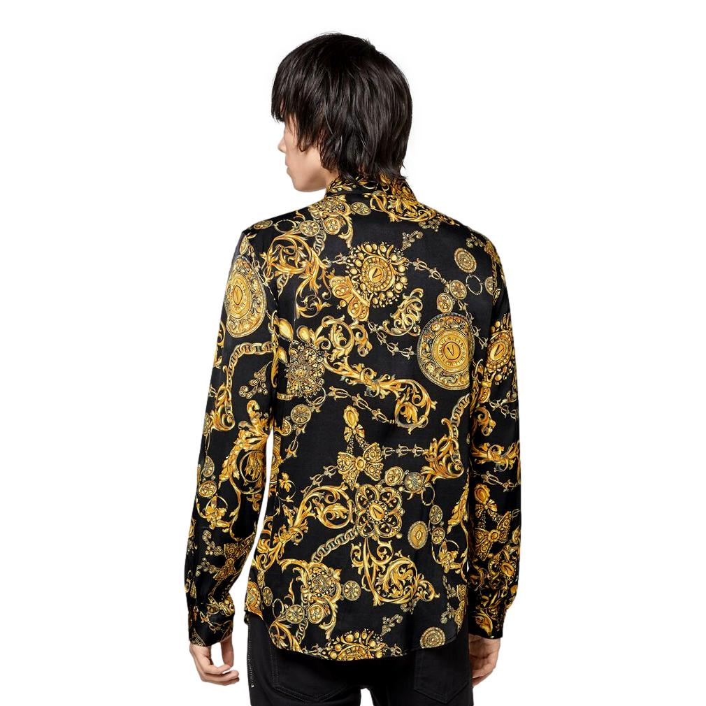 SHIRT WITH GOLD BAROQUE REGALIA PRINT VERSACE JEANS COUTURE      71GAL2S0 NS007G89
