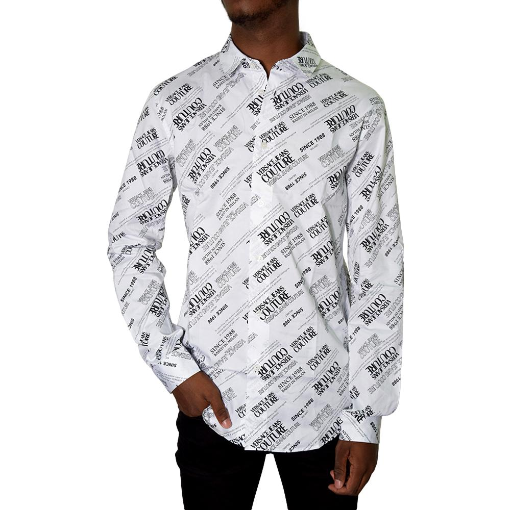 CAMICIA IN POPELIN LOGO ALL OVER VERSACE JEANS COUTURE | Camicie | 71GAL2S2 NS004003