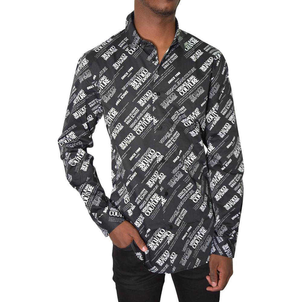 CAMICIA IN POPELIN LOGO ALL OVER VERSACE JEANS COUTURE | Camicie | 71GAL2S2 NS004899