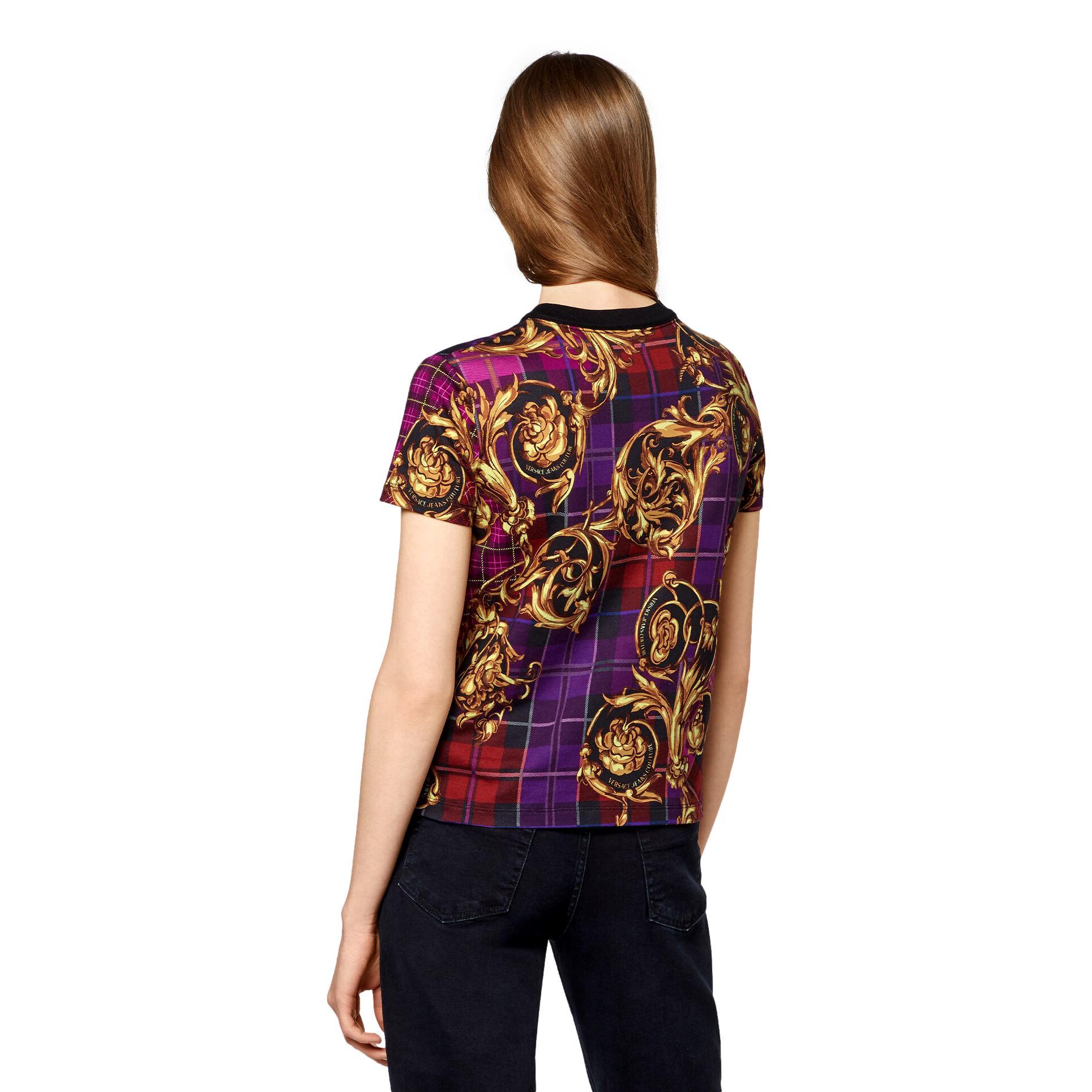 T-SHIRT CON LOGO E STAMPA TARTAN BAROQUE VERSACE JEANS COUTURE | T-shirt | 71HAH613 JS025G41