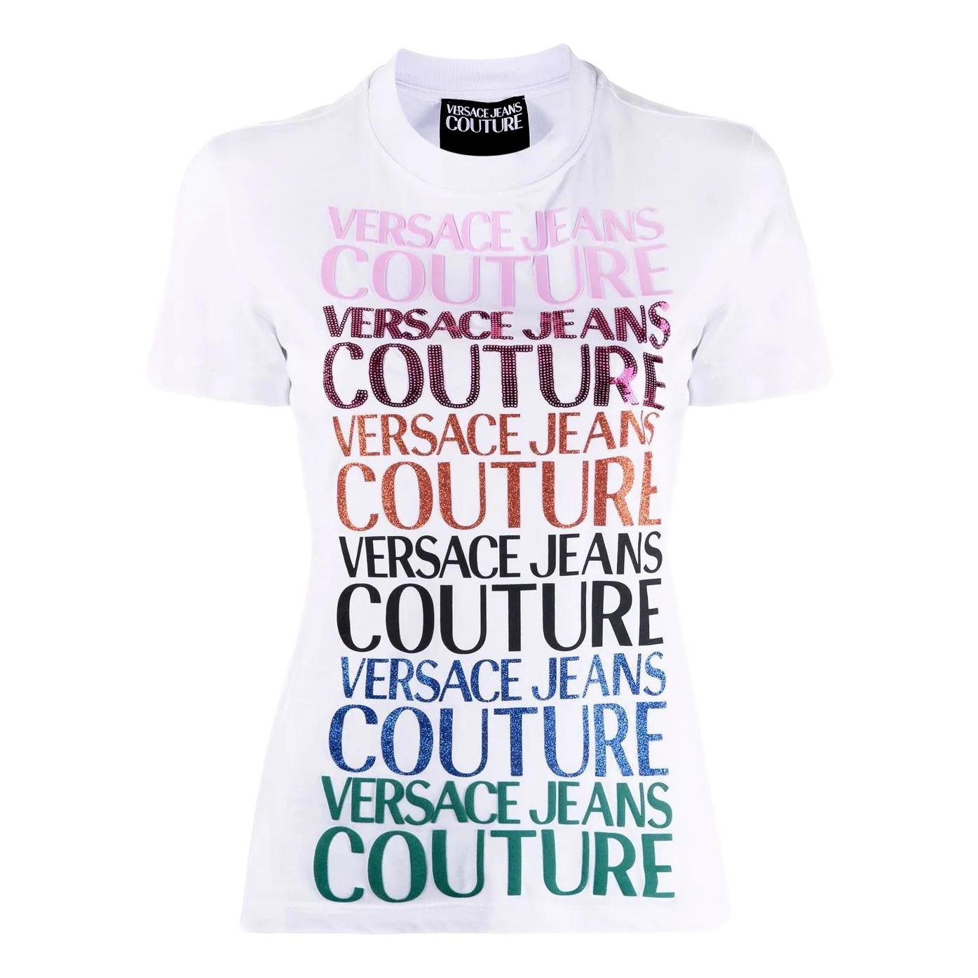 T-shirt with multi-material logo print VERSACE JEANS COUTURE |  | 71HAHG01 CJ00G003