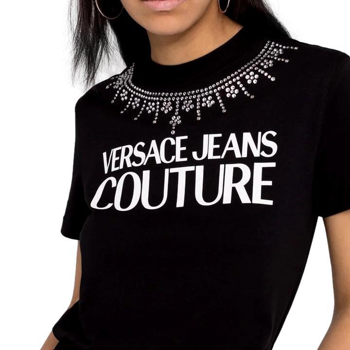 T-shirt con stampa e collana di cristalli VERSACE JEANS COUTURE | T-shirt | 71HAHG03 CJ00G899