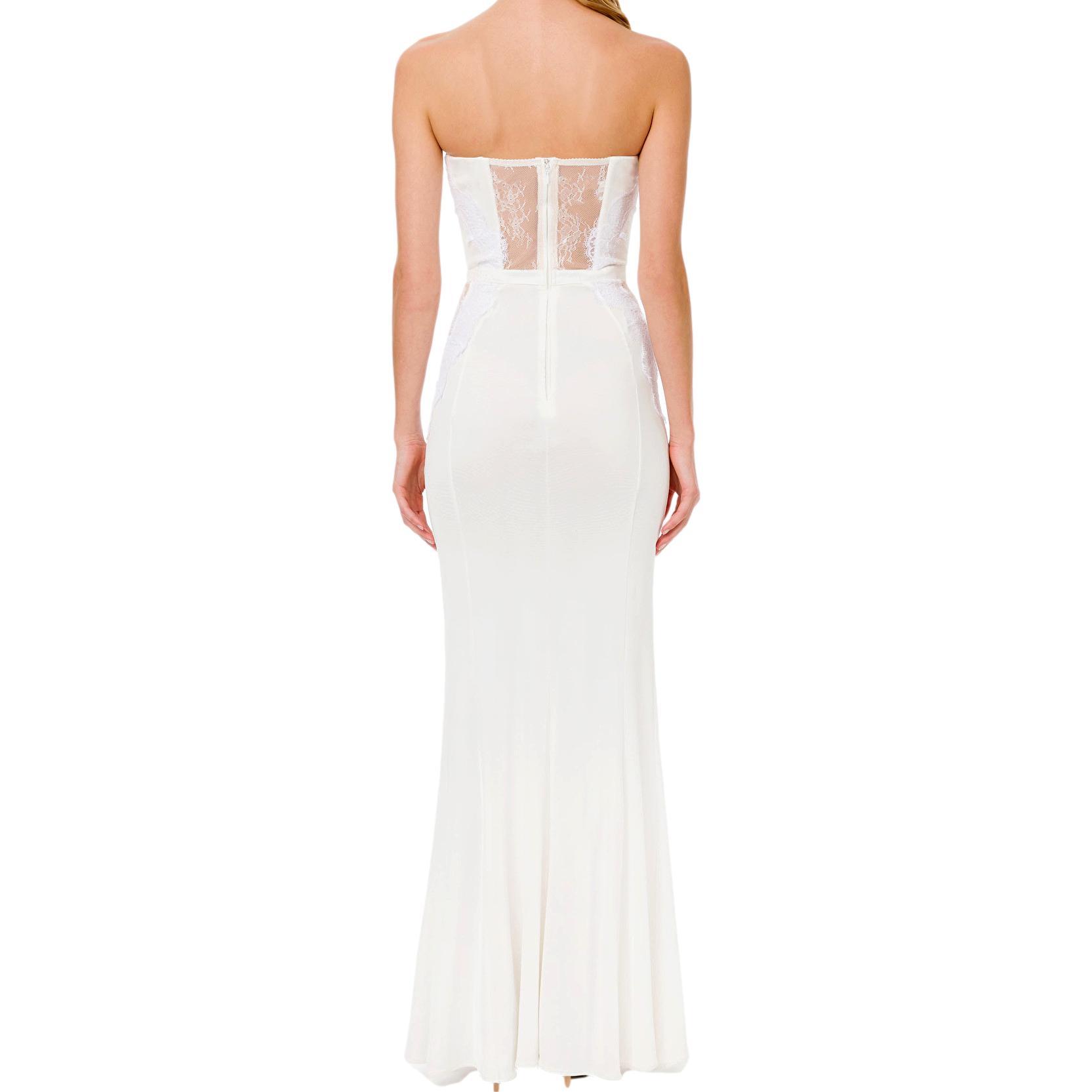 lace-panelled floor-length gown ELISABETTA FRANCHI |  | AB06111E2360