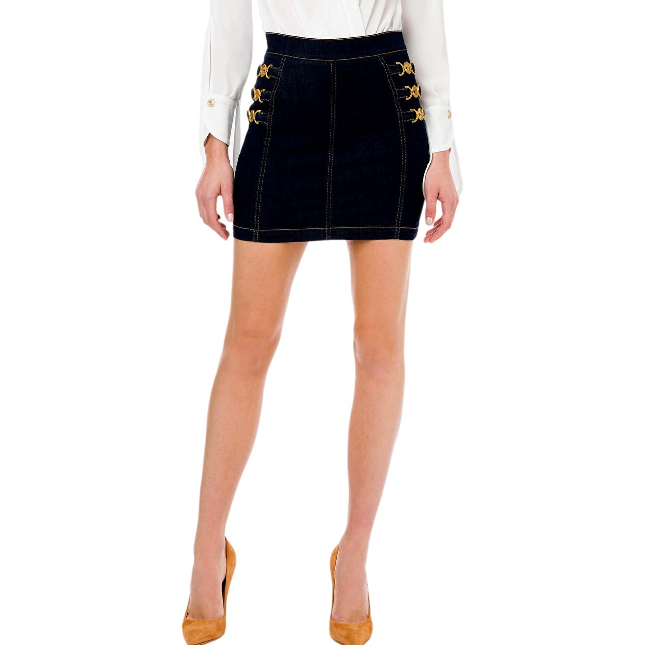 Denim mini skirt with light gold clamps ELISABETTA FRANCHI |  | GJ13S11E2104