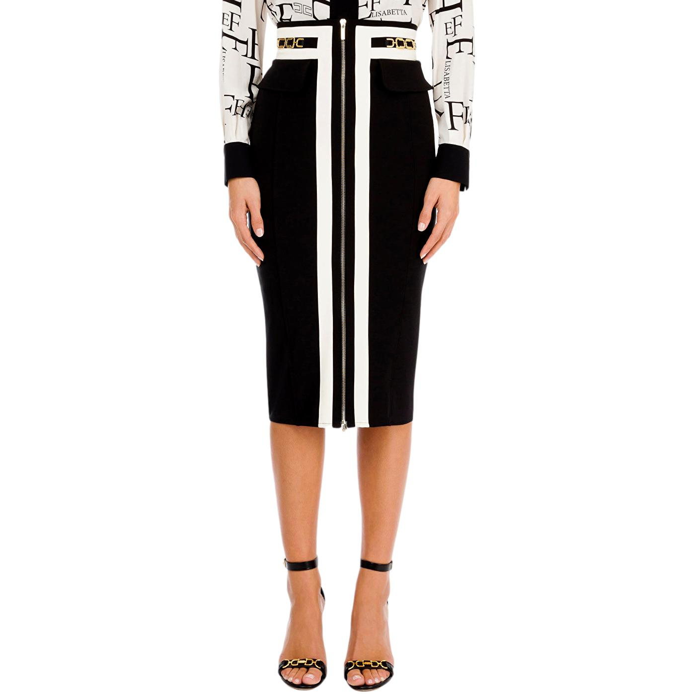 Longuette skirt with zip and light gold horsebit ELISABETTA FRANCHI |  | GO46011E2685