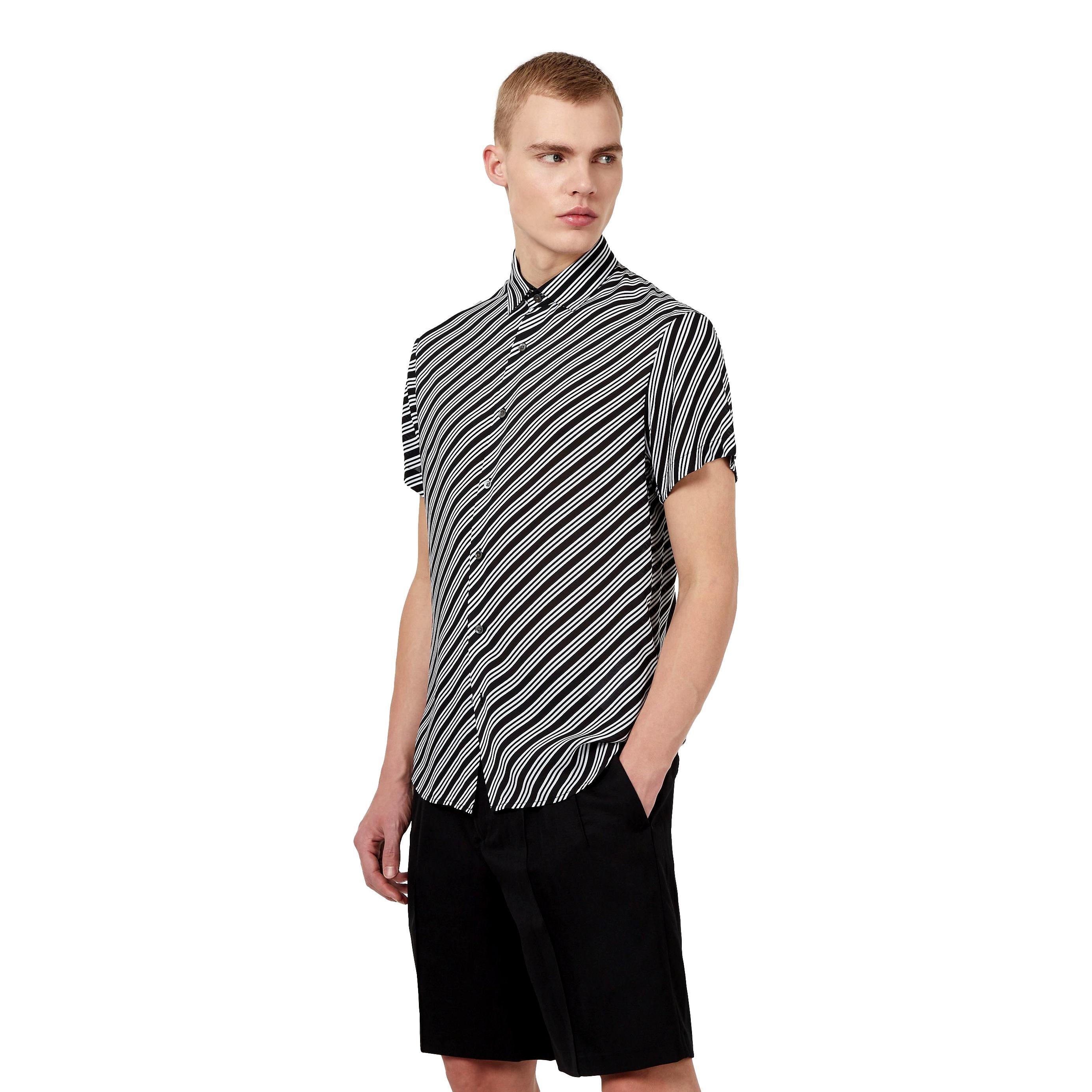Camicia maniche corte in modal stampa optical EMPORIO ARMANI | Camicia | 3K1CB9 1NYMZF011