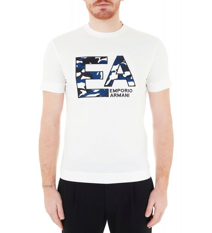 EMPORIO ARMANI T-Shirt Con Logo Ricamato Camouflage Bianco EMPORIO ARMANI | T-shirt | 3K1TM5 1JDXZ0101