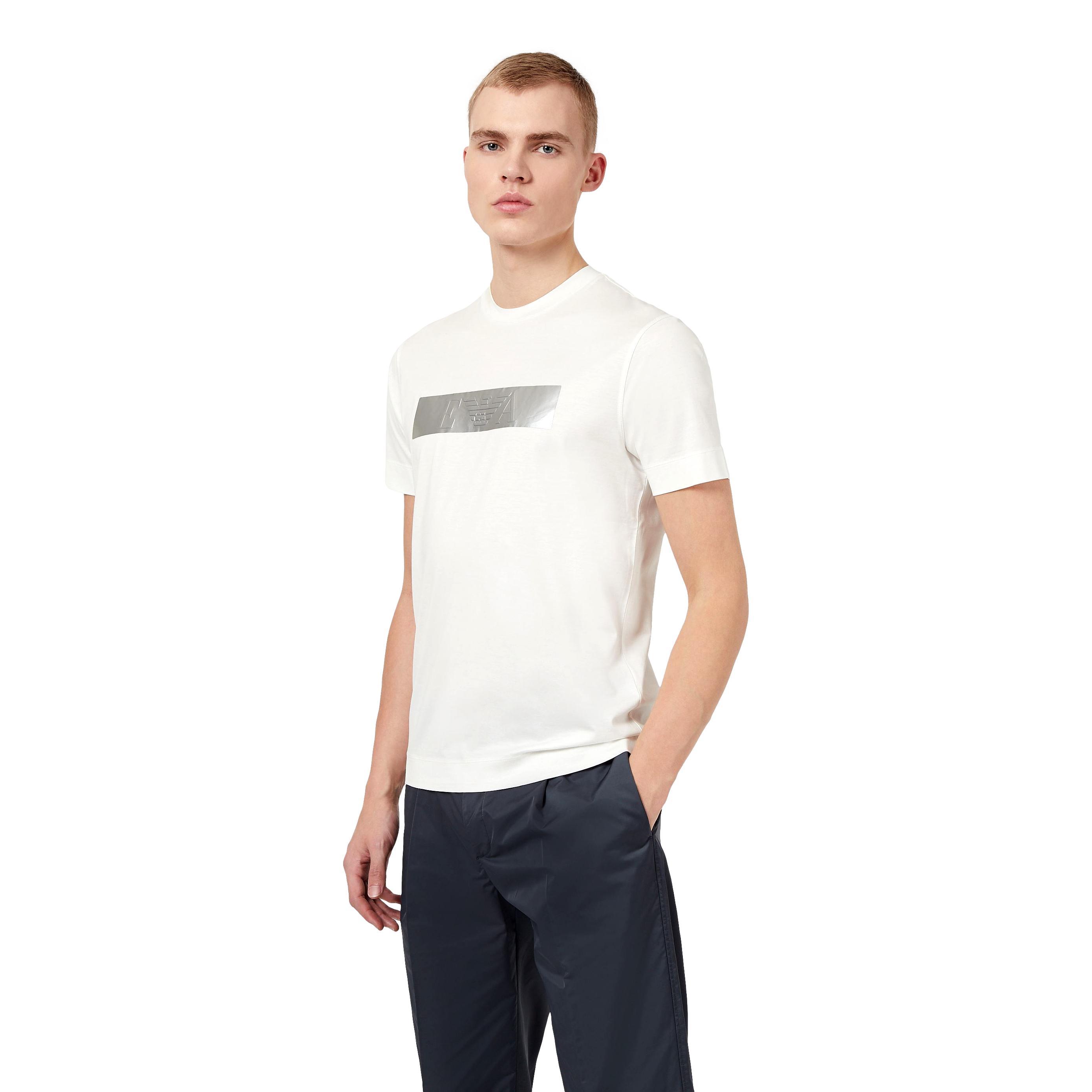 T-Shirt in misto Tencel con strip metal logata EMPORIO ARMANI |  | 3K1TQ0 1JUVZ0101
