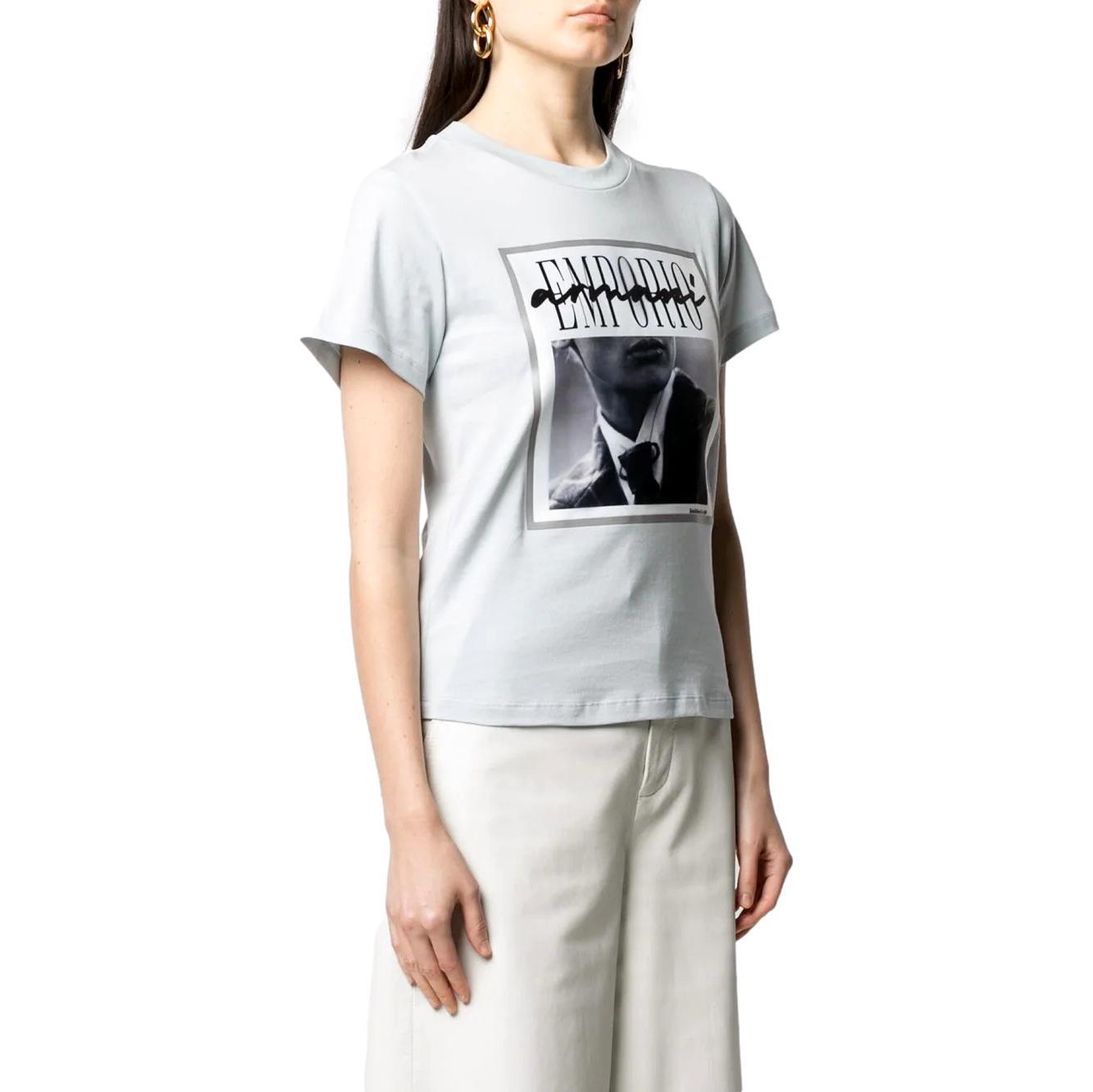 T-Shirt con stampa fotografica su organza effetto 3D EMPORIO ARMANI | T-shirt | 3K2T7I 2J30Z0705