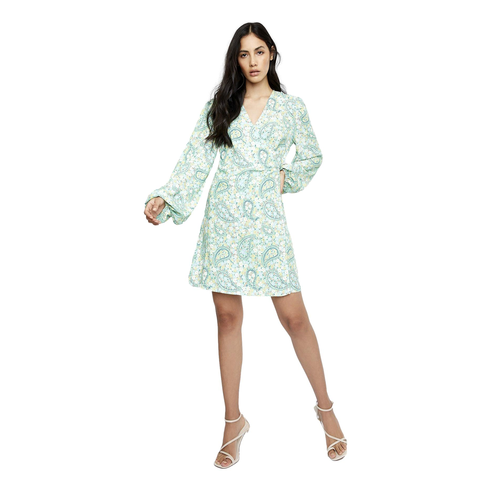 Green Paisley Wrap Dress GLAMOROUS | Abiti | CK5508GREEN