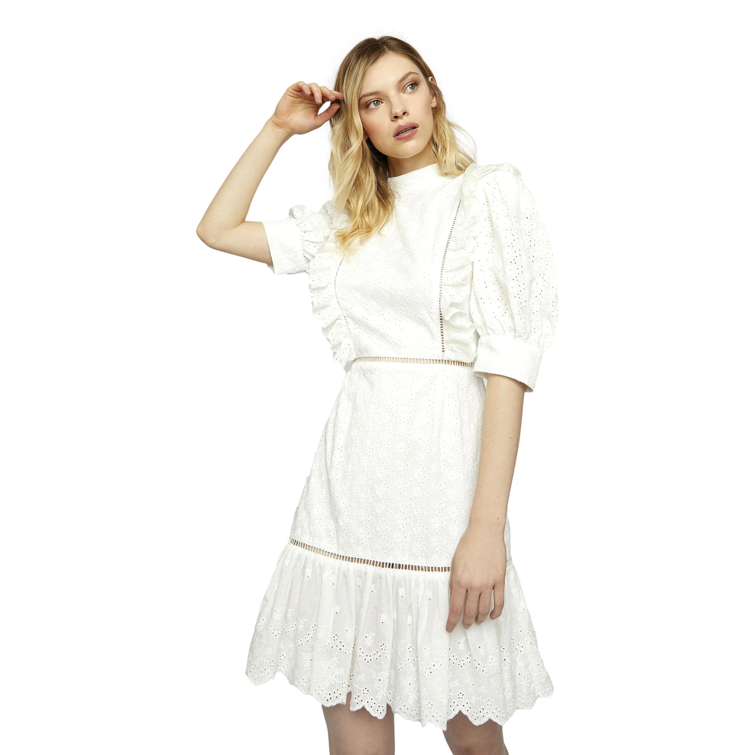 Mini abito broderie bianco con allacciatura sul retro GLAMOROUS | Abiti | GC0370WHITE