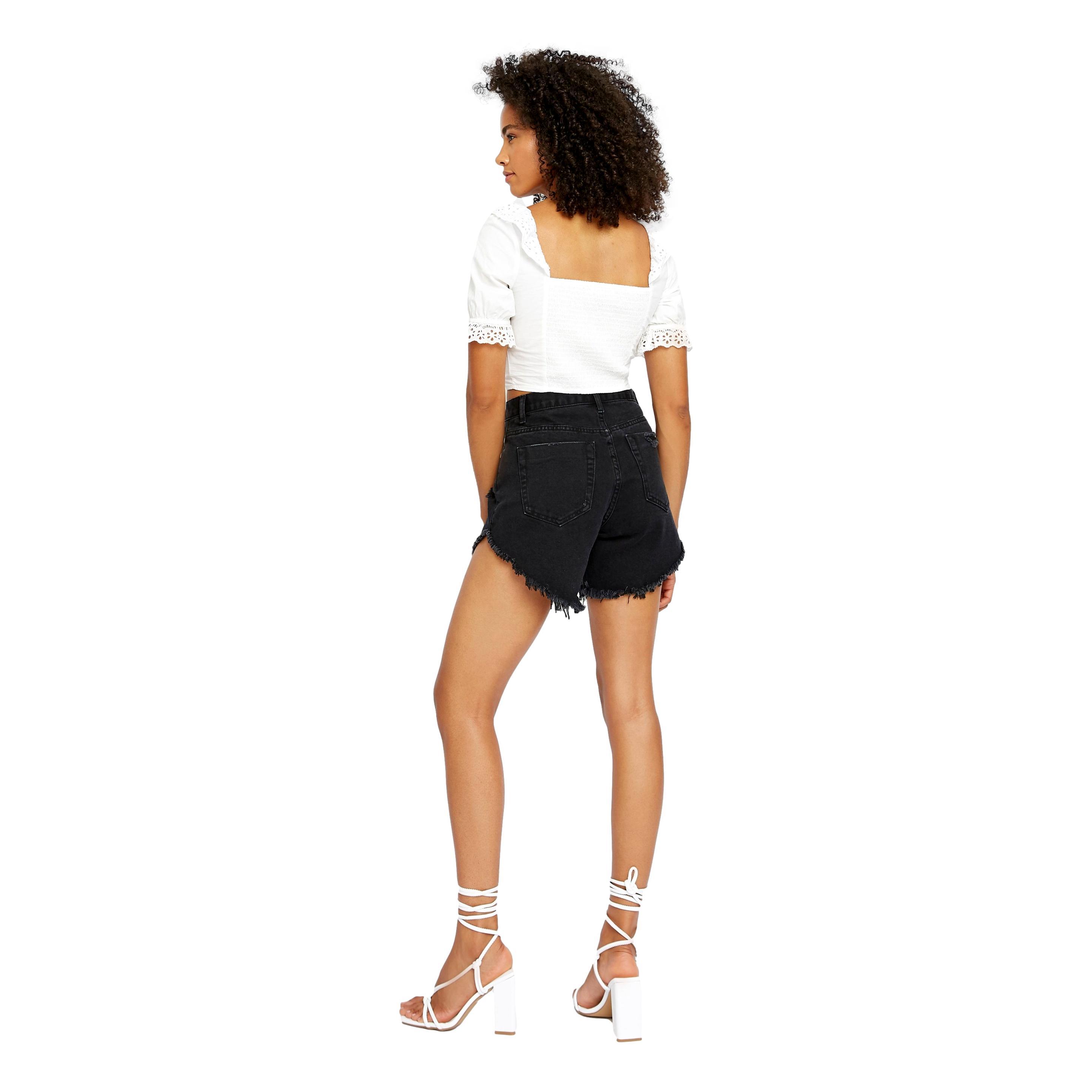Black High Rise Distressed Denim Shorts GLAMOROUS |  | KA6744BLACK