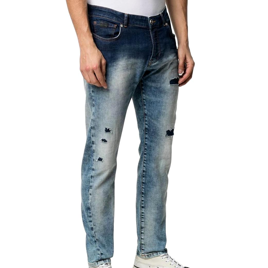 Jeans slim con effetto vissuto merryt(mick) RICHMOND JOHN | Jeans | RMP21128JE9GD.BLUE