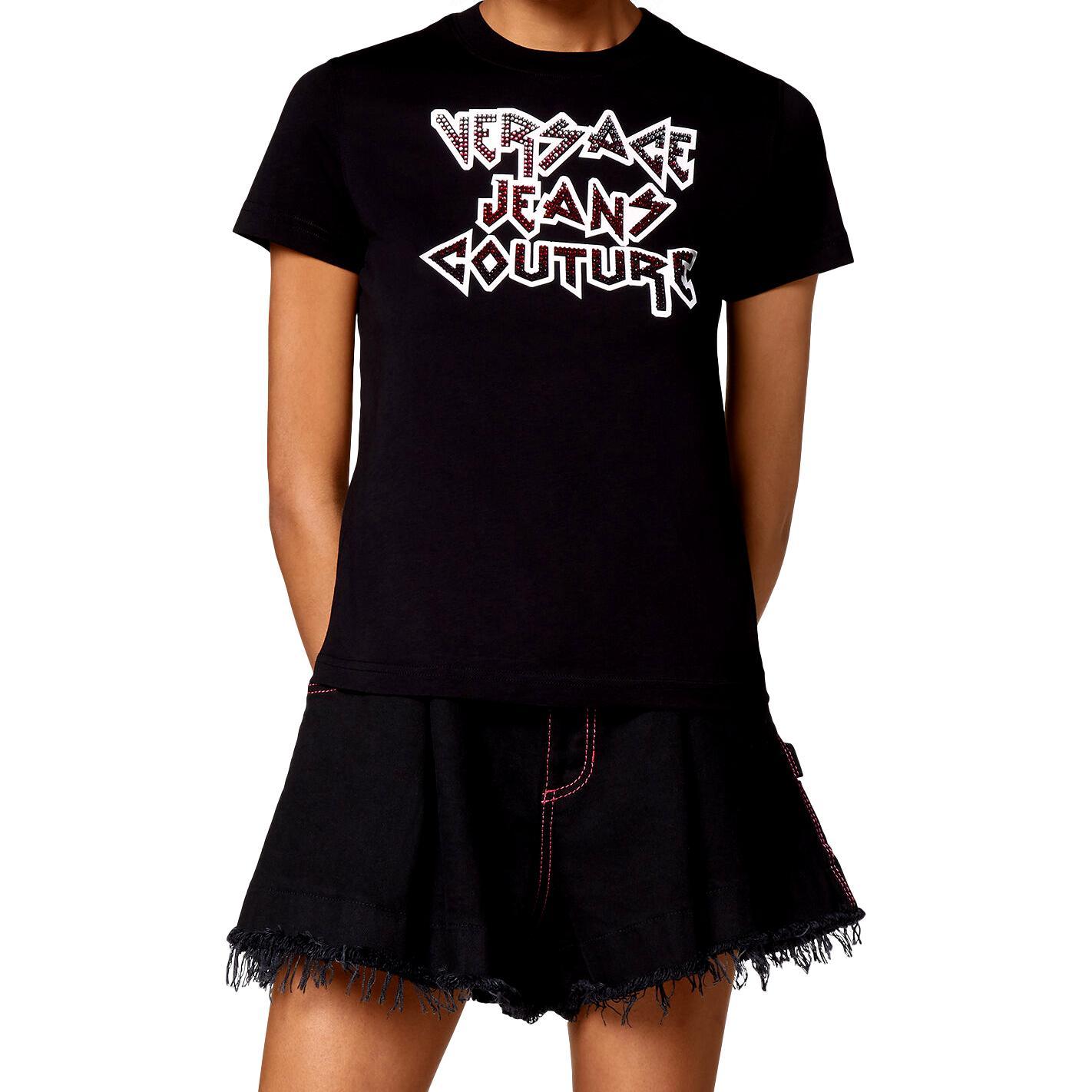 rhinestone-logo cotton T-Shirt VERSACE JEANS COUTURE      B2HWA7GA 30382899