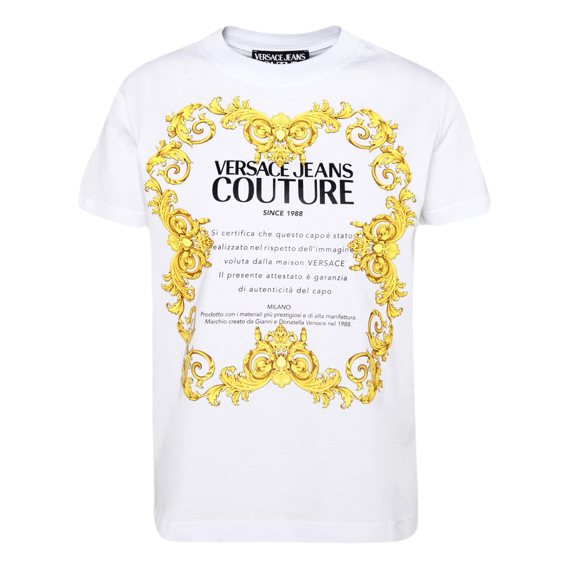 T-shirt in cotone stampa logo barocco oro VERSACE JEANS COUTURE | T-shirt | B2HWA7TJ 30319003