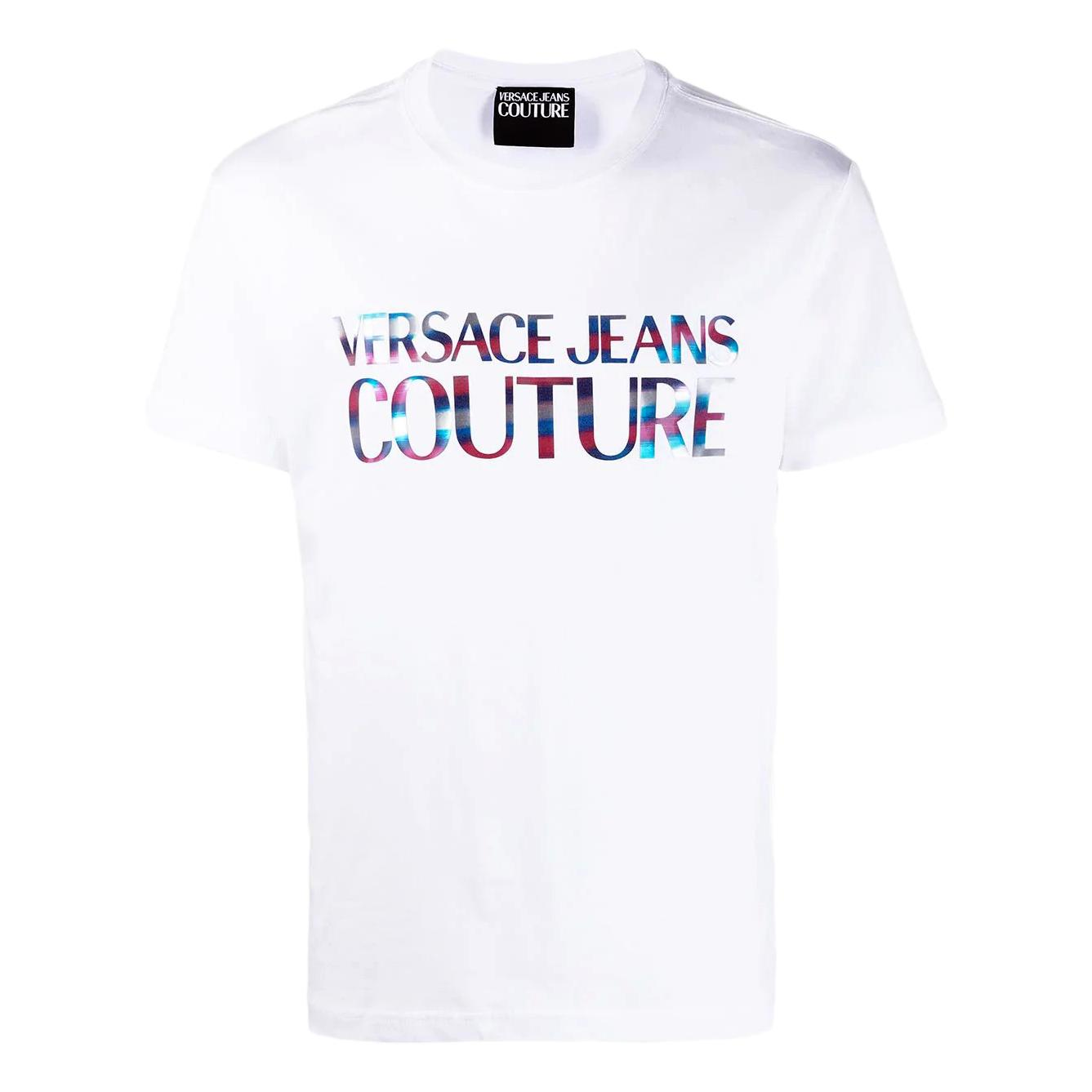 Crewneck T-shirt with reflective holographic logo VERSACE JEANS COUTURE |  | B3GWA7GB 30382003