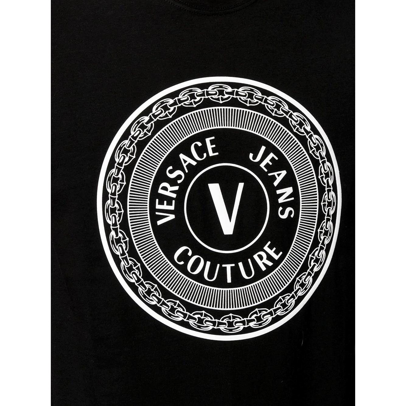 t-shirt con logo medaglione a contrasto VERSACE JEANS COUTURE | T-shirt | B3GWA7TD 30319899