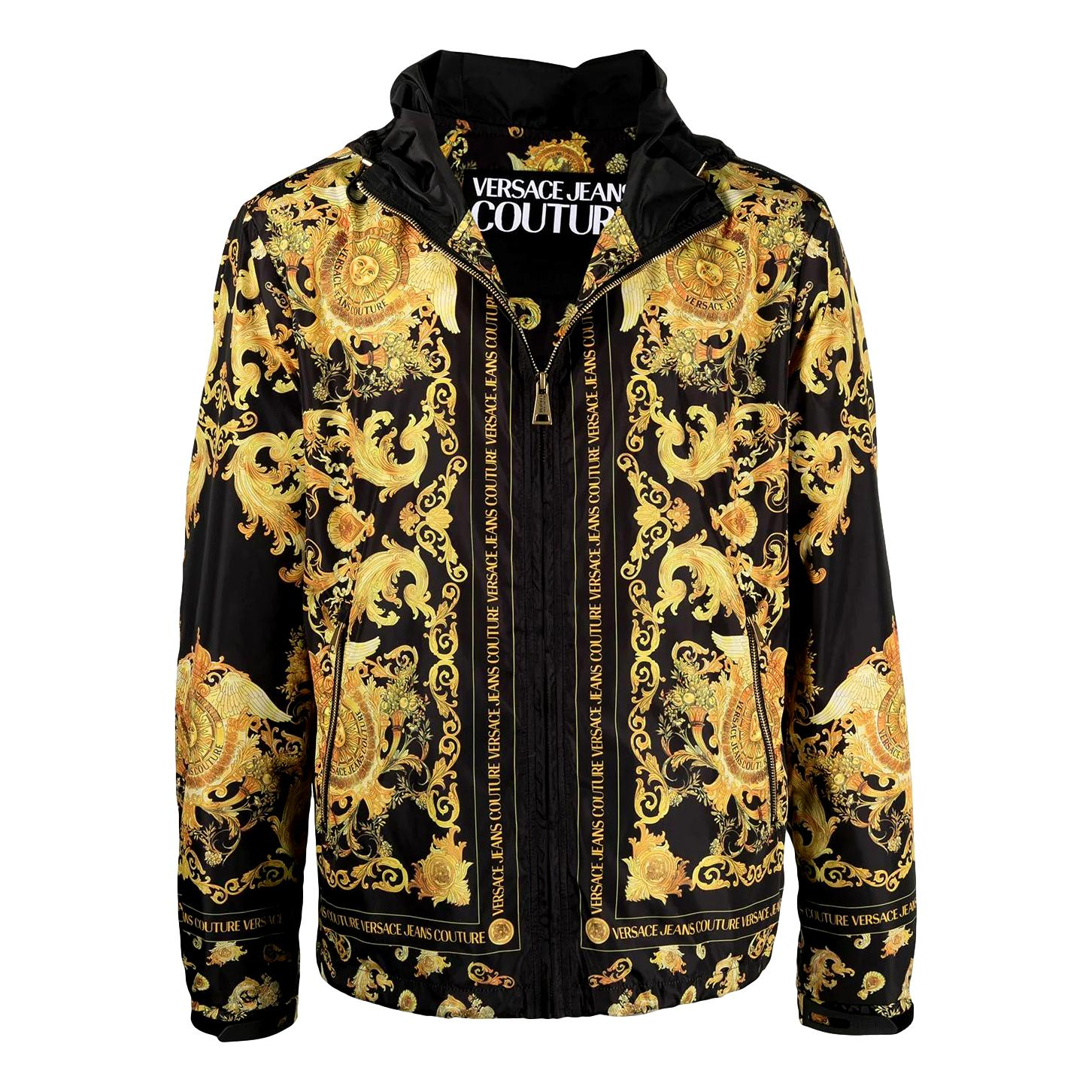 giacca con cappuccio stampa barocca nero oro VERSACE JEANS COUTURE | Giubbotti | C1GWA9A8 25188899