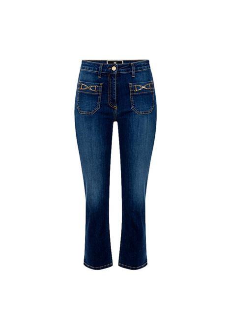 Jeans mini flare con staffa dorata ELISABETTA FRANCHI | Pantaloni | PJ17S16E2139