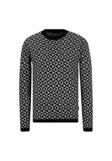 Pure virgin wool sweater with optical jacquard pattern EMPORIO ARMANI |  | 6K1MXN 1MPTZF006