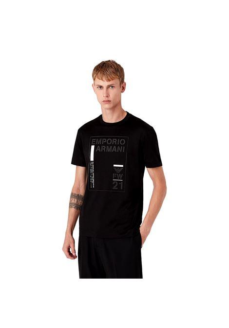 T-shirt in jersey misto Tencel stampa riquadro logo EMPORIO ARMANI | T-shirt | 6K1T94 1JUVZ0999