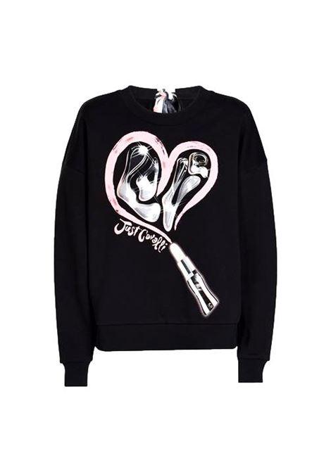 Black cotton sweatshirt with heart print JUST CAVALLI |  | S04GU0125 N25189900