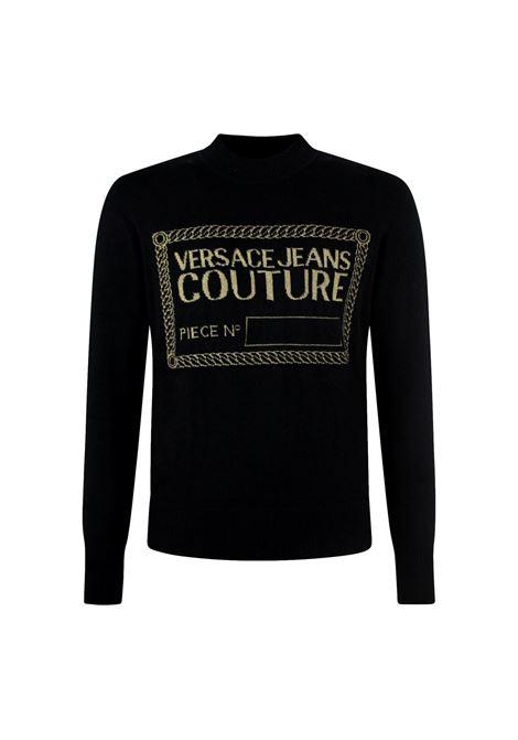 Maglione nero con logo oro VERSACE JEANS COUTURE | Maglie | 71GAF801 CM06HK42
