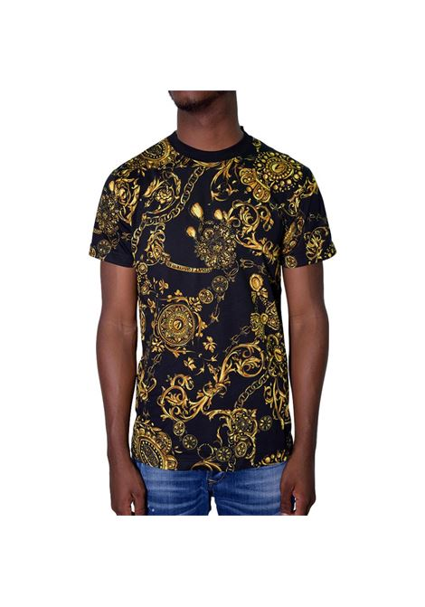 T-shirt con stampa barocca oro VERSACE JEANS COUTURE | T-shirt | 71GAH6S0 JS015G89
