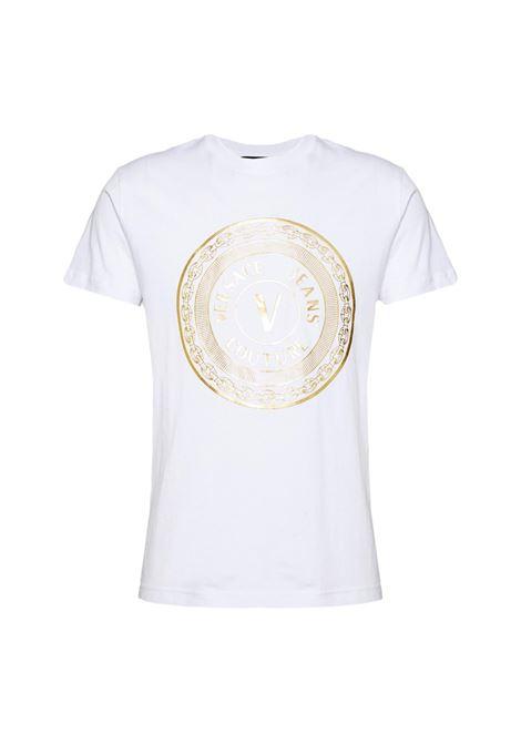 T-shirt girocollo con logo oro VERSACE JEANS COUTURE | T-shirt | 71GAHT12 CJ00TG03