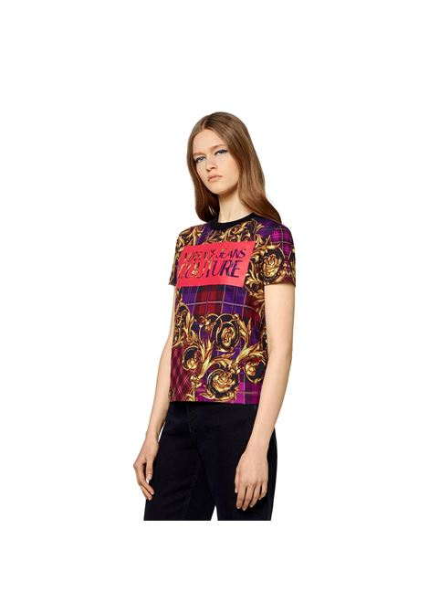 T-SHIRT WITH LOGO AND TARTAN BAROQUE PRINT VERSACE JEANS COUTURE |  | 71HAH613 JS025G41