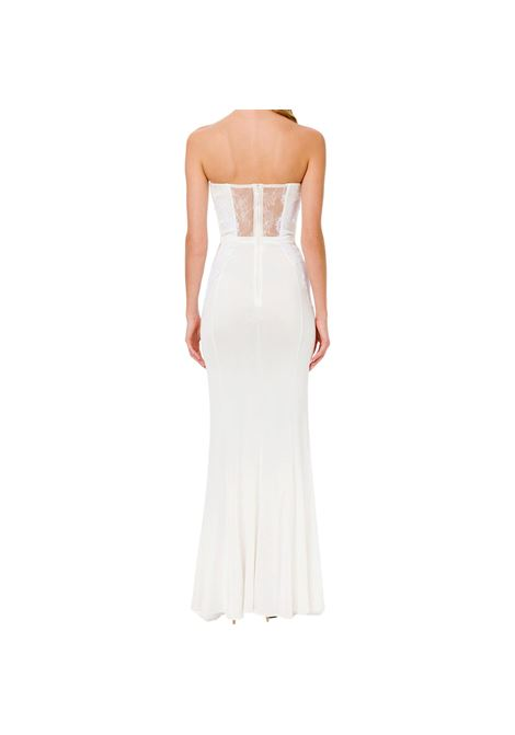 lace-panelled floor-length gown