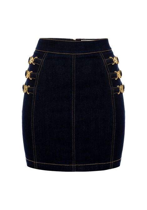 Mini gonna in jeans con morsetti light gold ELISABETTA FRANCHI | Gonna | GJ13S11E2104