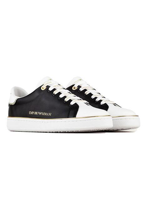 Sneakers in nappa lucida con punta a contrasto EMPORIO ARMANI | Scarpe | X3X103 XM788K485
