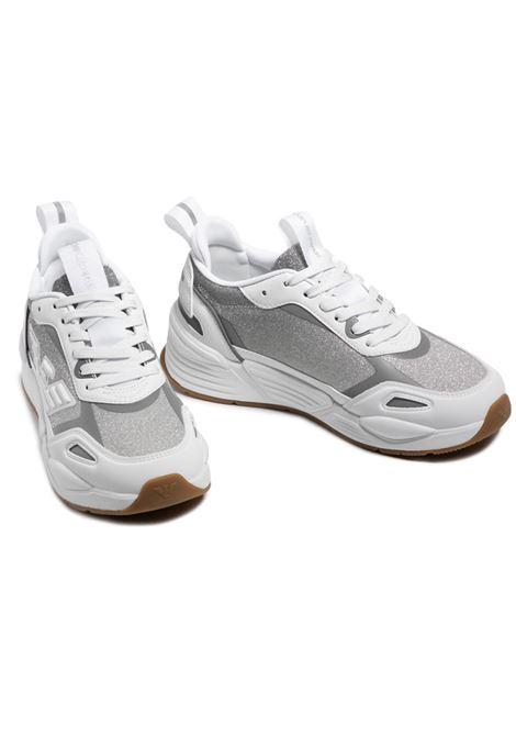 Sneakers in mesh con aquila e dettagli a contrasto EMPORIO ARMANI | Scarpe | X3X126 XM722T374