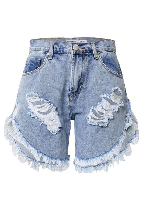 Light blue Rise Distressed Denim Shorts GLAMOROUS |  | KA6744LIGHT BLUE