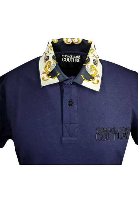 Polo pique con collo fantasia barocca VERSACE JEANS COUTURE | Polo | B3GWA7T5 36571200
