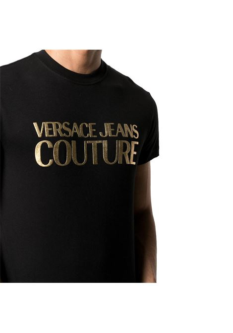 t-shirt con logo oro satinato VERSACE JEANS COUTURE | T-shirt | B3GWA7TB 30319K42