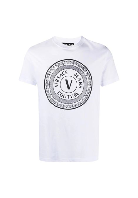 t-shirt con logo medaglione a contrasto VERSACE JEANS COUTURE | T-shirt | B3GWA7TD 30319003