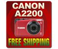 Canon Powershot A2200 14.1mp Digital Camera red Logo