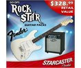 Fender Starcaster Strat Electric Guitar - Color: GLOSS White - PERFECT FOR BEGINNERS! - stratacaster Body Type - Twin Pickups - Includes 8 watt AMP, gig bag, guitar cable, strap, stand, chromatic tuner, strings, pick & 8 Watt Tranz AMP Logo