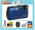 Nikon Coolpix Aw100 26292 Blue Hd Gps Waterproof Digital Camera 2gb Kit Logo