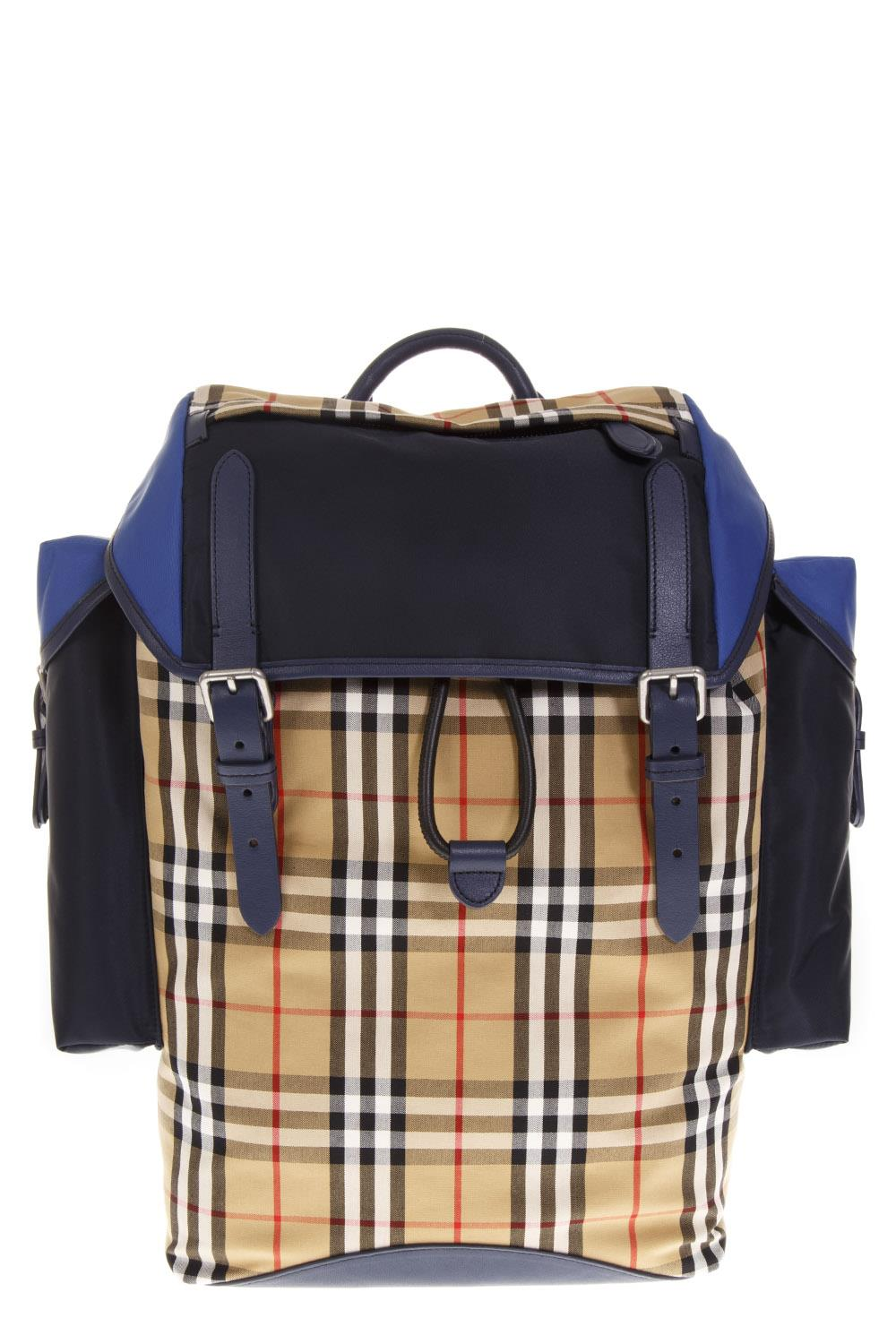 3a9bb1533247 BLUE COTTON VINTAGE CHECK BACKPACK FW 2018 - BURBERRY - Boutique Galiano