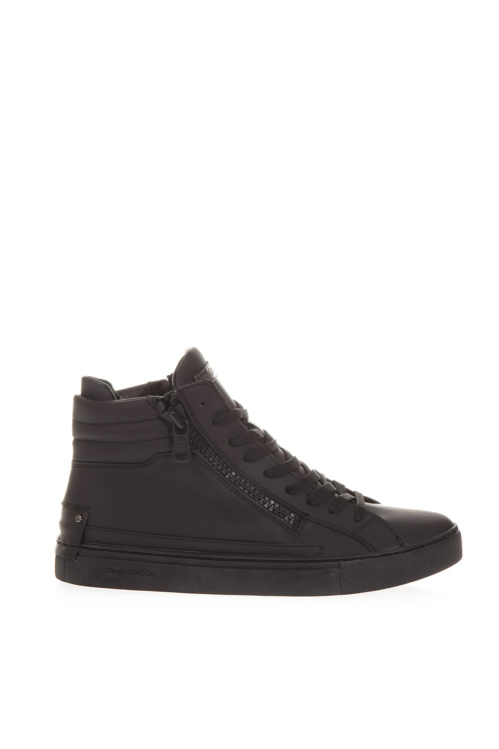 bb28fc626a698 HIGH-TOP BLACK LEATHER SNEAKERS FW 2018 - CRIME LONDON - Boutique Galiano