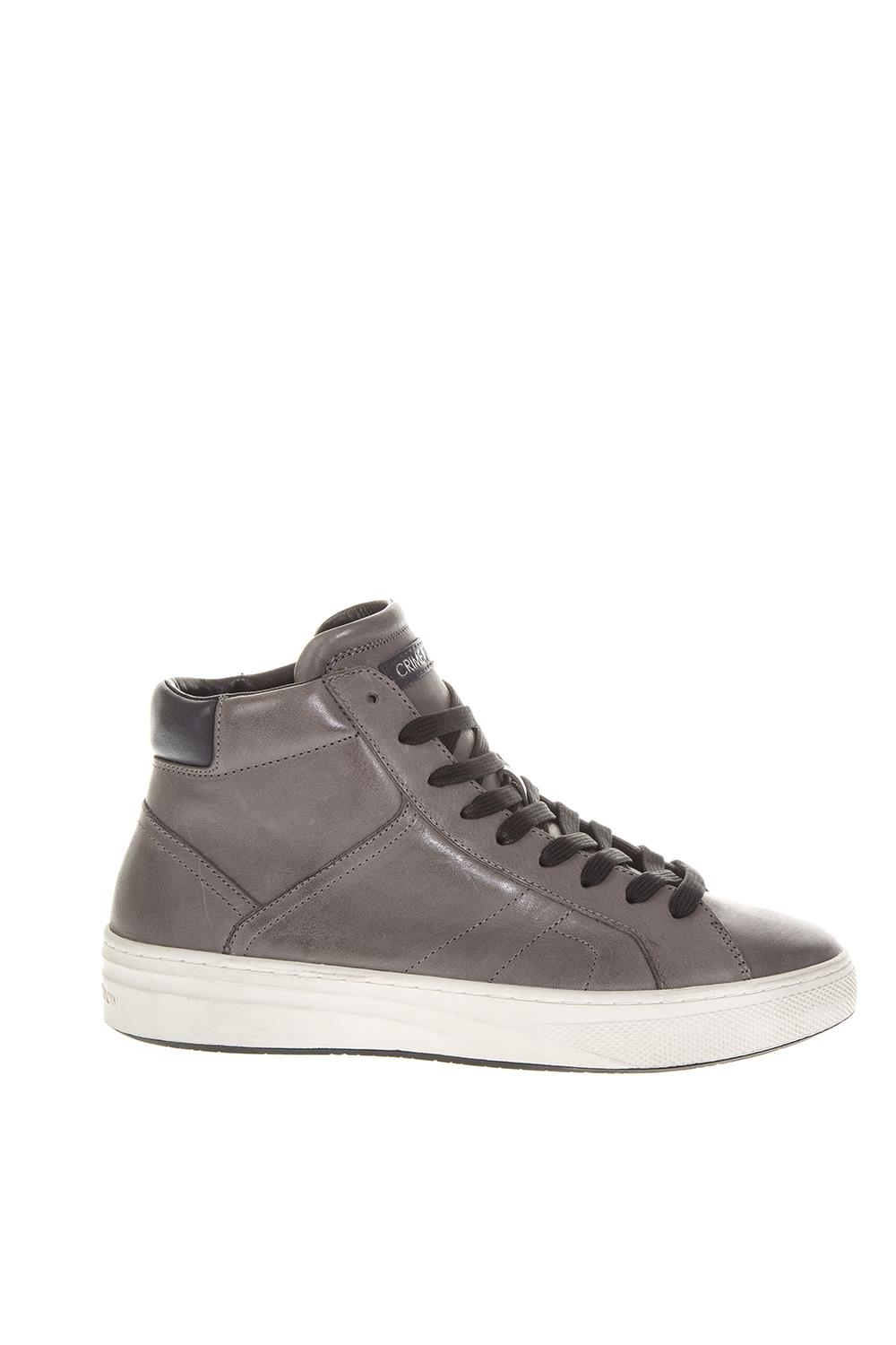 911efe355b14a2 TAUPE LEATHER HIGH-TOP SNEAKERS FW 2018 - CRIME LONDON - Boutique Galiano