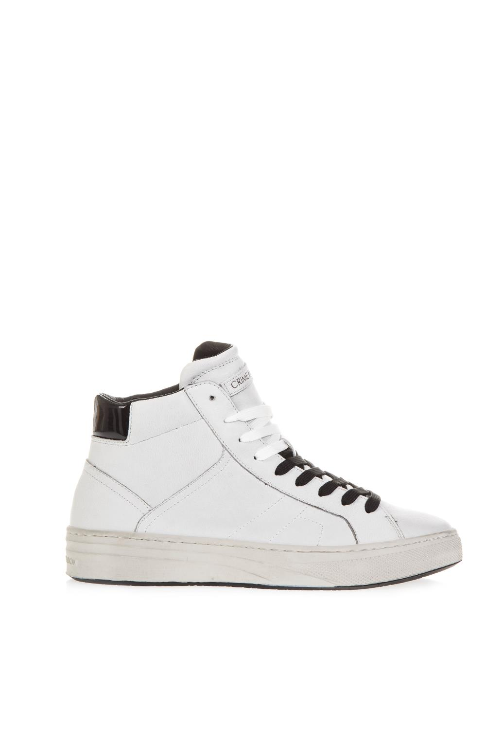 5b11f01210567 WHITE LEATHER HIGH-TOP SNEAKERS FW 2018 - CRIME LONDON - Boutique Galiano