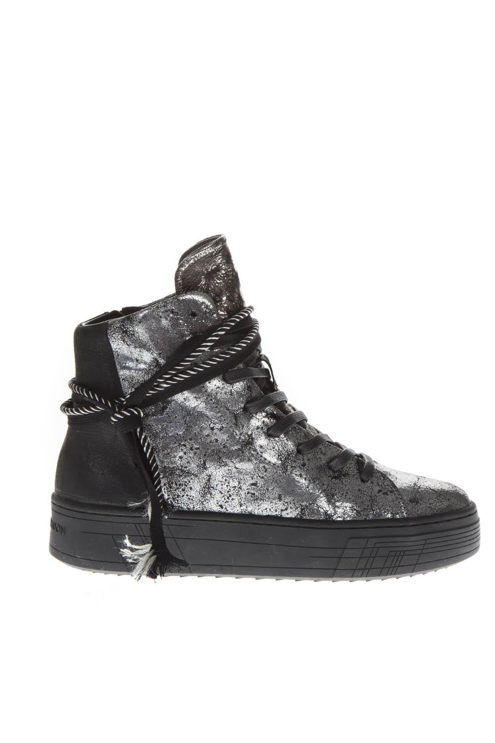 893b19bddd1d2 SILVER LEATHER HIGH-TOP SNEAKERS FW 2018 - CRIME LONDON - Boutique Galiano