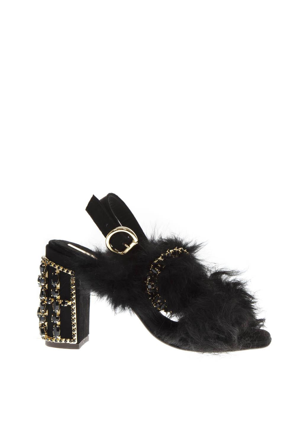 d705a4033cb EMBELLISHED BLACK FUR SANDALS FW 2018 - EMANUELA CARUSO CAPRI - Boutique  Galiano