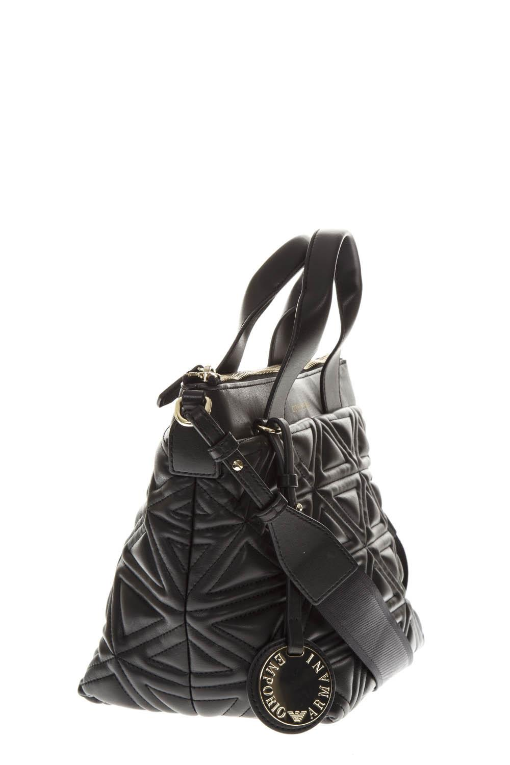 BLACK FAUX LEATHER QUILTED HANDBAG FW 2018 - EMPORIO ... 738477dee3f81