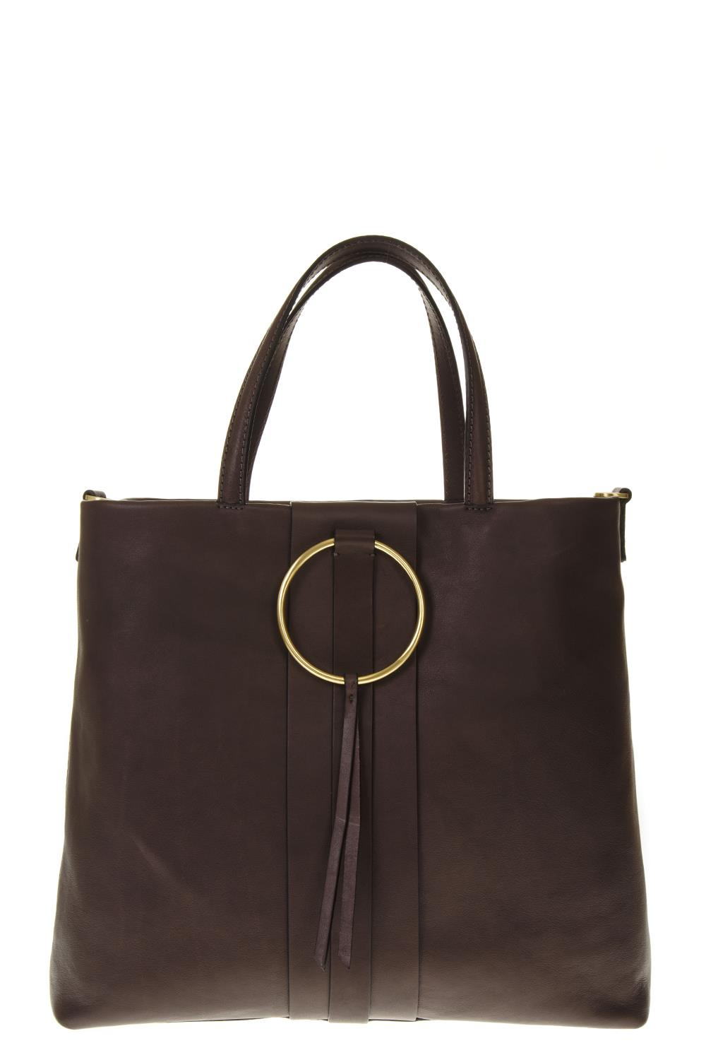 37b6becfac BROWN LEATHER TOTE BAG WITH METAL RING FW 2018 - GIANNI CHIARINI - Boutique  Galiano